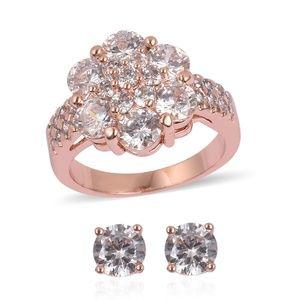 Jewelry - Sim White Diamond Rosetone Stud Earrings and ring